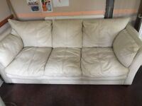Cream leather 3 seater and 2 seater sofa