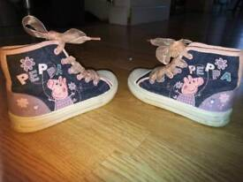 Girls Peppa Pig blue denim baseball boots