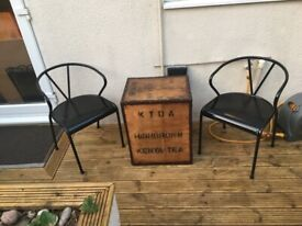 Industrial look 80's tea chest table &chairs