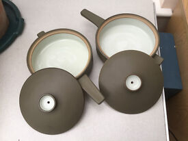 """Pair of matching Denby """"Chevron"""" casserole dishes with lids"""