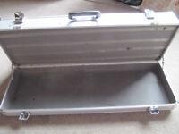 Large silver heavy duty aluminium metal travel/flight case 2 tier - £20