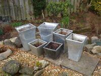 Selection of garden zinc metal silver square planters and ornamental plastic flower pots