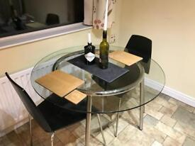 Ikea Glass and Steel round table and chairs