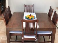 Lombok, Indonesian Teak, Seba square dining table and 6 chairs