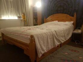 Standard Wooden Double Bed + Mattress