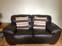 2x Brown Leather Sofas - nearly mint condition, from smoke and pet free home.