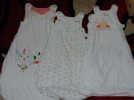 bundle job lot of three baby unisex sleepping bags 0-6