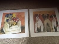 Two Alex Clark prints of dogs