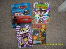 4 children's books, Disney's Cars, Moshi Monsters and 2 others