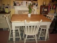FARMHOUSE TABLE AND FOUR CHAIRS 4ft x 3ft
