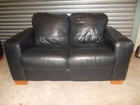 Small Black Leather 2-seater Sofa