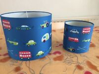 Boys blue ceiling light shade & bedside lamp shade