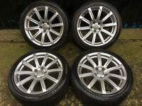 18'' GENUINE AUDI A5 S LINE ALLOY WHEELS TYRES ALLOYS 10 SPOKE A4 B8 5x112