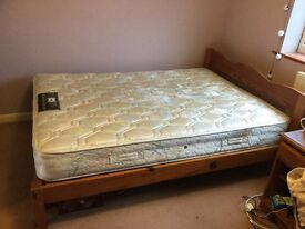 Hardwood Double Bed with Mattress