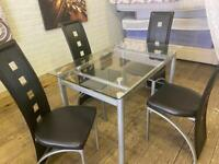 GLASS DINING TABLE & 4 CHAIR SET NICE SMART FREE DELIVERY