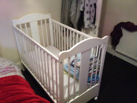 Baby Cot Bed White with mattress clean
