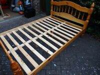 Pine double bed frame, good condition