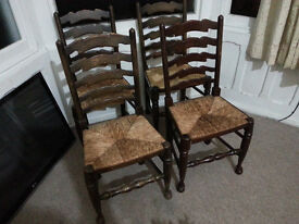 4 x Oak Dining Chairs with Wicker Seating