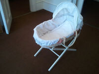 MOSES BASKET WITH HOOD AND STAND.