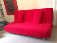 ikea click klack sofa converts into double bed ,with storage tray under