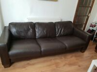 Italian leather 3 seater sofa, good condition, small scratch on side of arm.
