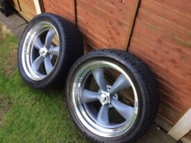 AMERICAN RACING CLASSIC TORQ THRUST 20X8 5-4.75 GREY POLISHED LIP WITH TYRES
