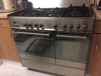 DeLonghi stainless steel 90cm dual fuel range cooker