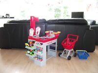 ELC Smoby Shop with bleeper scanner Trolley and basket