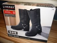 Motorcycle Boots -- Black Buffalo Leather , Brand New with Labels