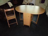 folding dining table with 4 folding chairs for sale