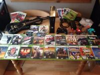 Xbox 360 250gb Slim Big Console Bundle Wireless Controller 30 Games