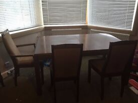 STAG DINING ROOM TABLE, SIX CHAIRS, EXCELLENT CONDITION