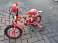 "Kids bike - ""Red Firechief"" bike for 3-5 year olds - Free scooter included"