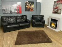 BLACK LEATHER SOFA SET IN GOOD CONDITION 2+1 seater