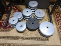 York Standard rubber weights and Dumbell bars