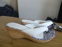 Brand new ladies white wedge sandals size 7