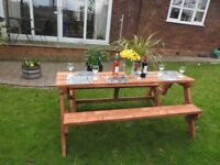 6 ft folding picnic table from bench seats 6 with dinners
