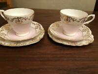 6piece vintage bone china tea set