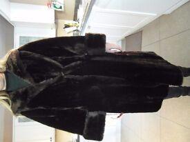 Canadian beaver lamb knee length fur coat