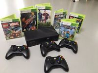X BOX 360 with Kinect, 4 controllers and games bundle