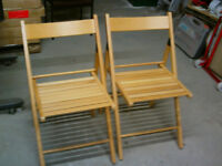 2 x Wooden folding dining chairs