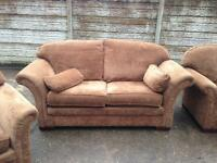 like new only 3 months old 3 seater + 2 armchair fabric sofa dark brown only £120 good bargain price