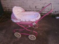 Girls pink gingham toy pram with basket