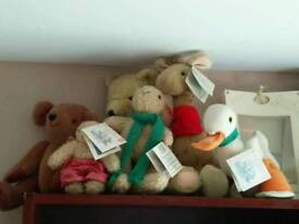 Jane Hissey old bear soft toys with labels