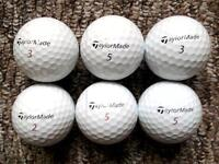 6 Taylormade golf balls in very good condition, tour preferred, penta tp, penta tp5