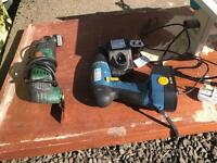 Small selection of power tools including table saw, Bosch multi tool and cordless drill