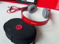 DR Dre BEATS Headphones by Dr Dre BEATS SOLO HD Special Edition RED ON EAR HEADPHONES