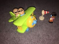 ELC Happyland Bright Green Bi-Plane set with 3 figures & electronic sounds (rare/ discontinued)