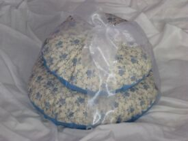 Stack of 2 blue/cream circular cushions.