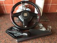 Seat leon CUPRA R steering wheel gear nob hand break cover